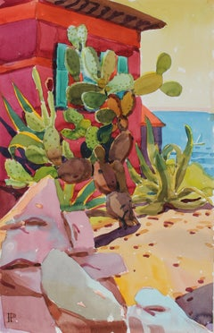 """""""Rocks and Cactus"""" Watercolor Landscape Painting, 20th Century"""