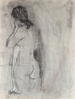 1940s Figurative Nude Sketch in Charcoal