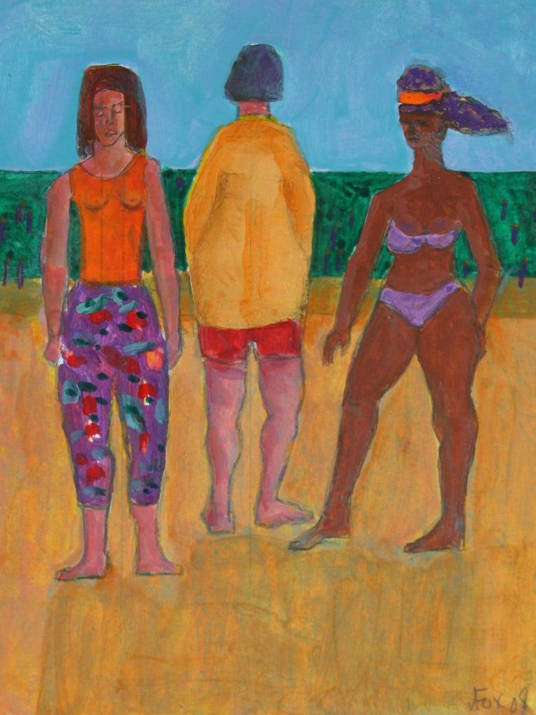 "Dave Fox Figurative Art - ""Love Boat Series"" Beach Trip in Acrylic and Graphite, 2008"