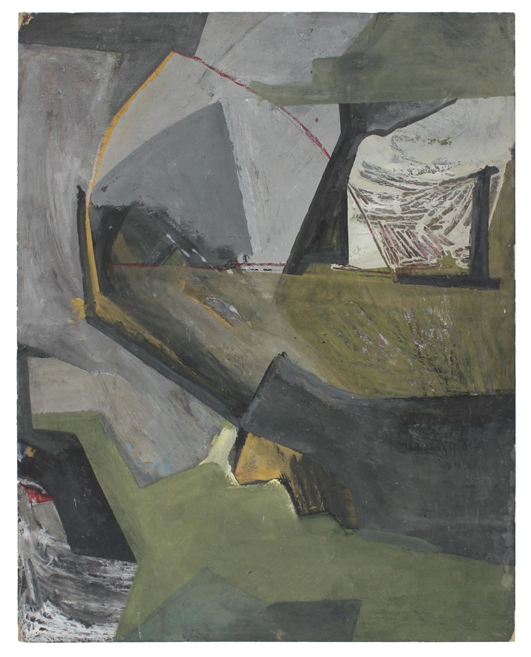 Jack Freeman Abstract Drawing - 1960s Abstract Expressionist Painting in Cool Tones of Gray and Green
