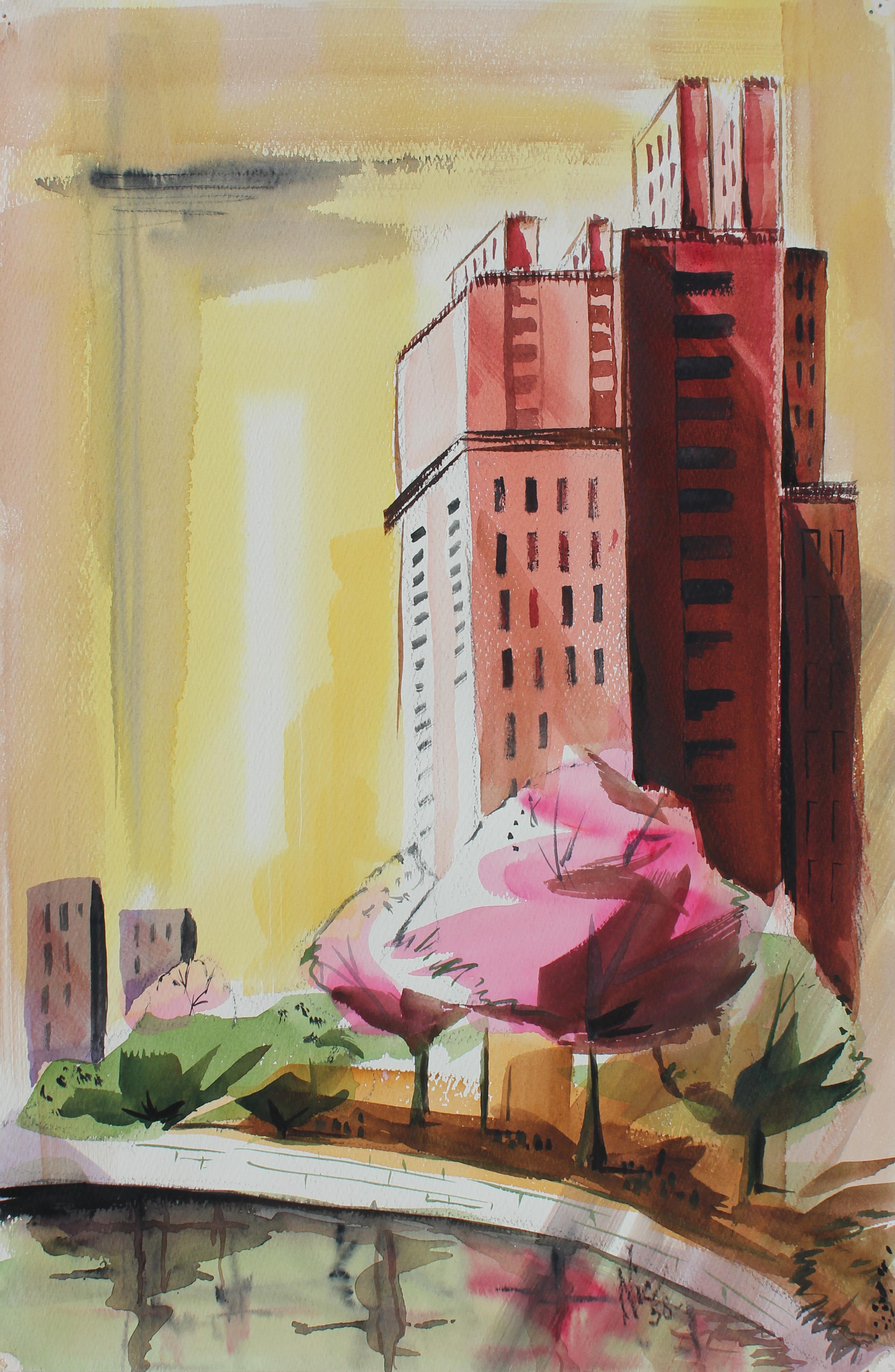 1950s City Scene Watercolor on Paper