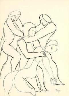 20th Century Expressionist Figurative Line Drawing in Ink
