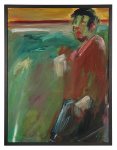 2000s Red and Green Figurative Oil on Canvas