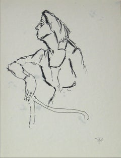 20th Century Side Profile of Woman in Ink