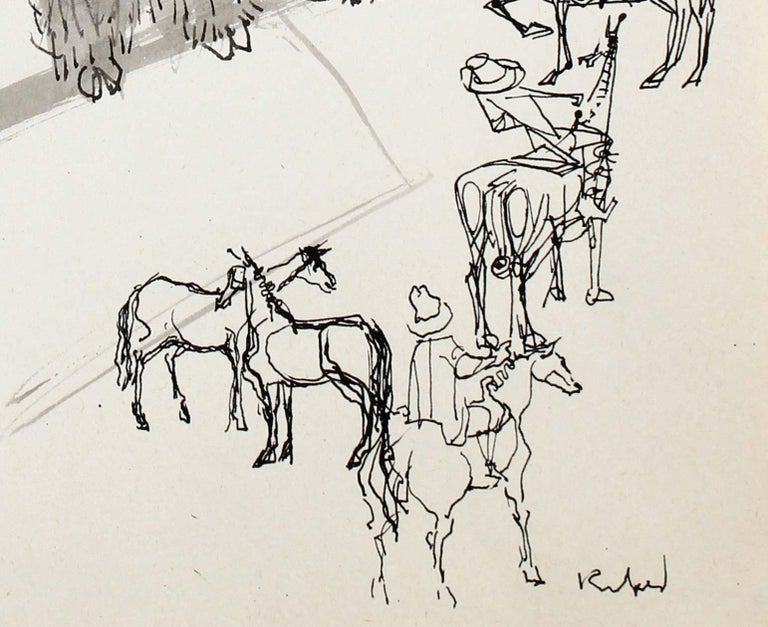 1980s Modernist Cowboy and Buffalo Illustration in Ink - Art by Morris Kronfeld