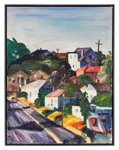 1990s Colorful Bay Area Scene Oil on Canvas