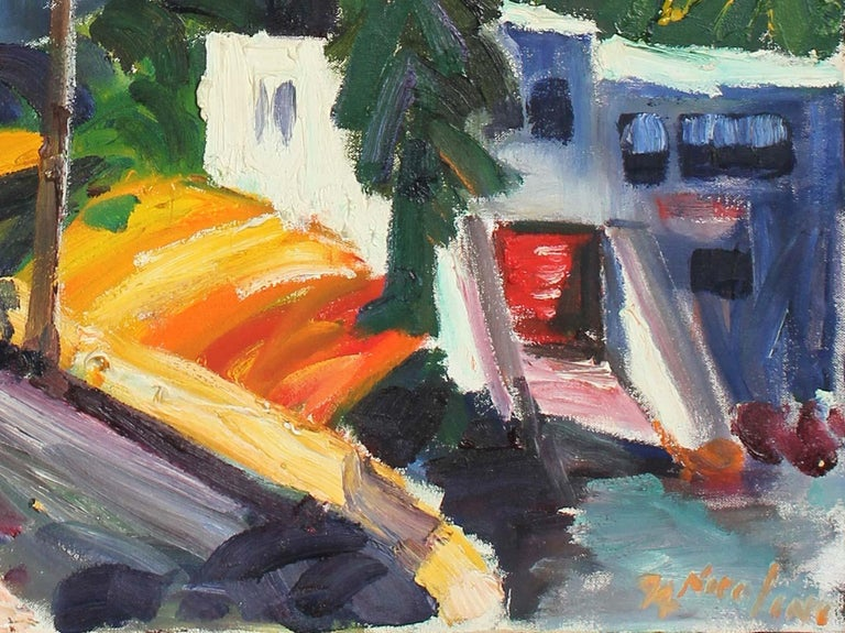 1990s Colorful Bay Area Scene Oil on Canvas   - Art by John Nicolini