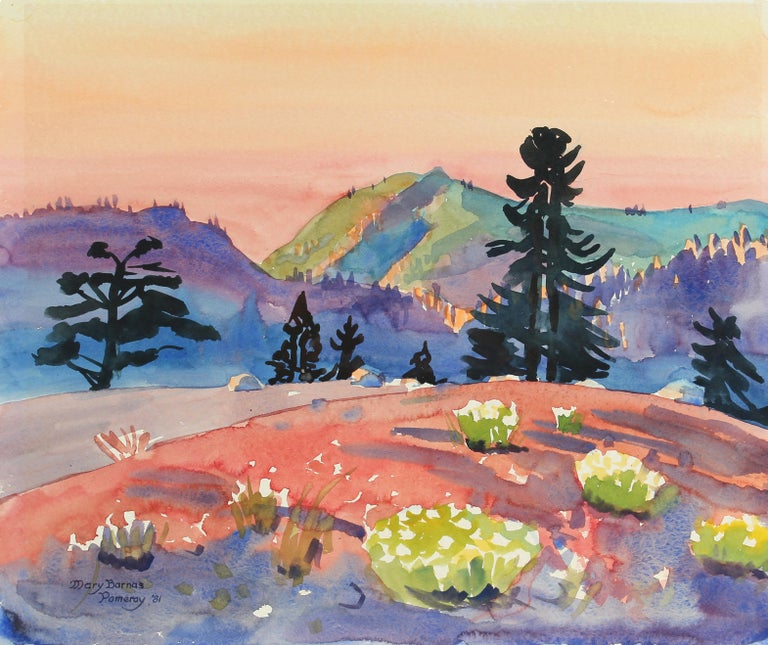 """Mary Pomeroy Still-Life - 1980s """"Above Bear Valley"""" Landscape in Watercolor"""