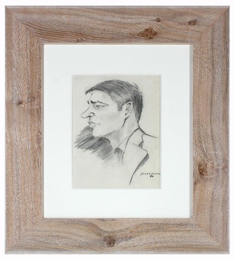 "Portrait of a Man Entitled ""Diebenkorn"", Graphite on Paper - Art by John Nicolini"