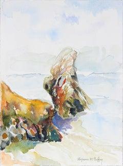 20th Century Northern California Seascape in Watercolor