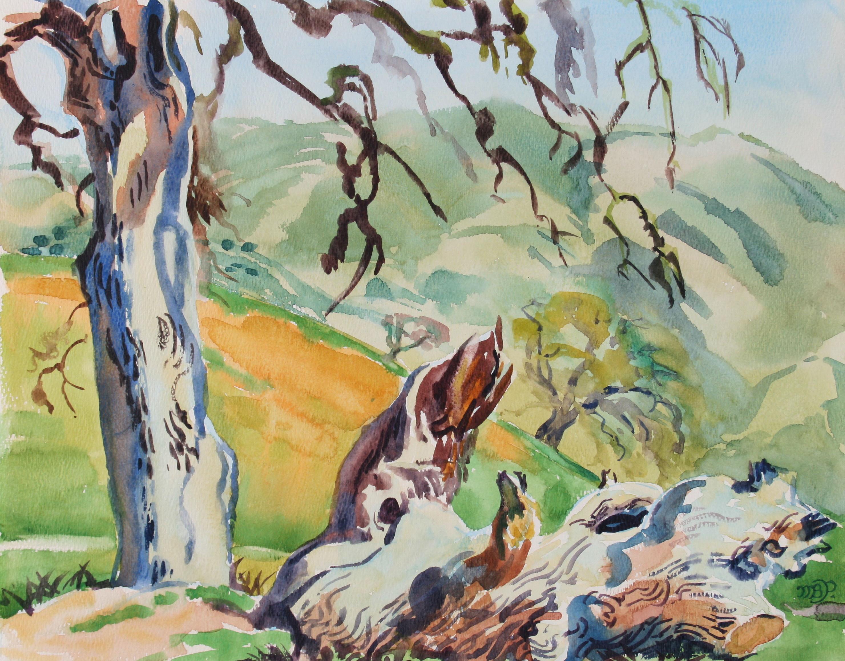 "1970s ""Towards Greenfield"" Landscape in Watercolor"
