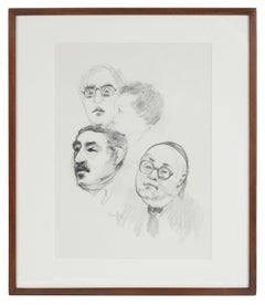 1980s Portrait of Four Figures, Illustration in Ink