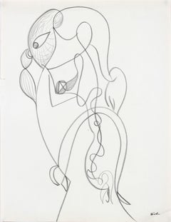 Abstracted Continuous Portrait in Graphite, Late 20th Century