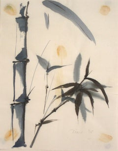 1975 Ink Wash and Watercolor Painting of Bamboo on Paper