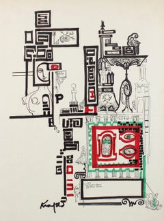 1960s Illustrative Building in a Calligraphic Style, Ink on Paper Board
