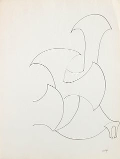 1960s-80s Minimalist Abstract Line Drawing in Ink