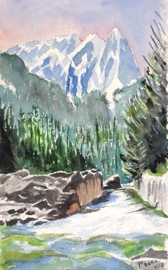 1960s Mountain Landscape in Watercolor