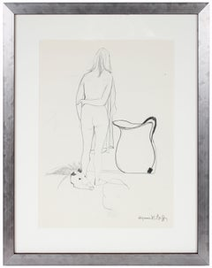 1960's Figure with Vase and Animal Skull in Graphite