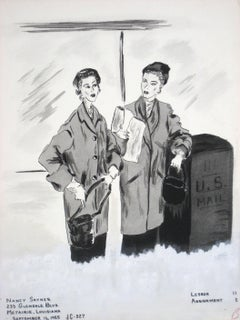 1950s Ink Drawing of Two Figures by Mail Box