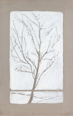 1910 Gouache Painting of a Winter Tree