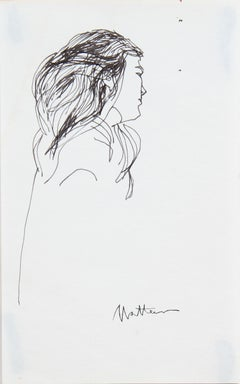 20th Century Side Profile Portrait of a Woman in Ink on Paper
