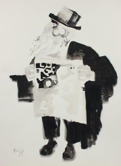 1970's Drawing of a Man With Newspaper in Ink
