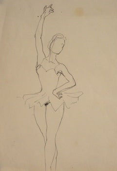 Vintage Ink Drawing of a Ballerina in Fourth Position