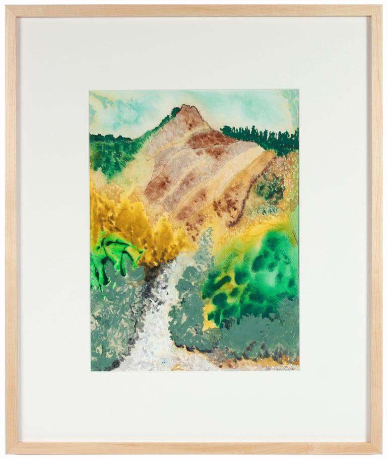 "Gaétan Caron Landscape Art - ""Dry Creek"", 2018, Lost Coast Mendocino, CA Mixed Media Landscape with Yellow"
