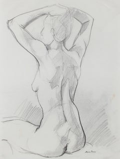 Stretching Female Nude, Graphite on Paper, Late 20th Century