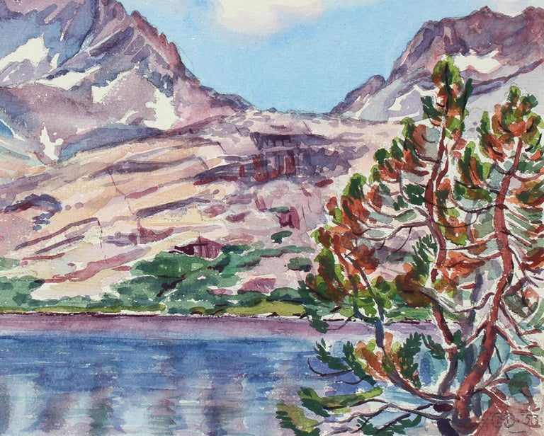 1950s Vibrant Mountain Scene in Watercolor - Art by Mary Pomeroy