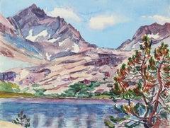 1950s Vibrant Mountain Scene in Watercolor