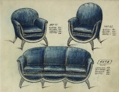 Early 20th Century Blue Sofa Design in Ink and Pastel