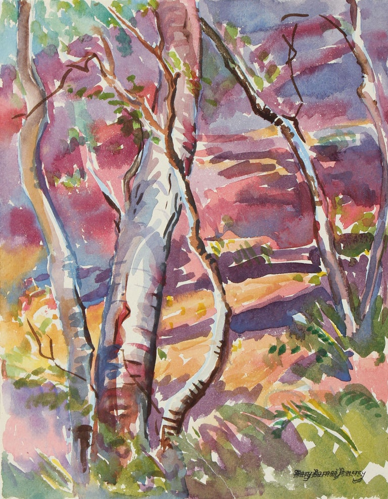 "Mary Pomeroy Landscape Art - 1950s ""Monterey"" Watercolor Forest Scene in Pink"