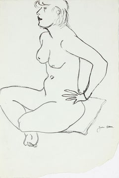 20th Century Sketch of a Seated Woman on Pillow in Ink