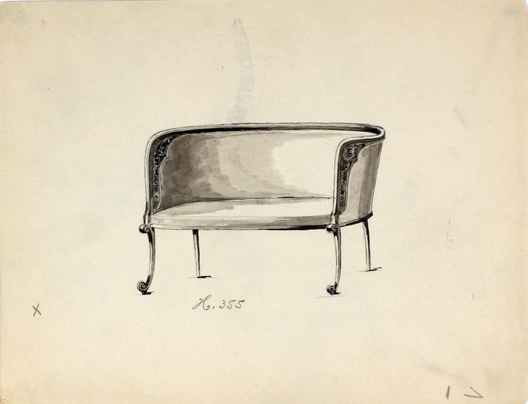 Unknown Still-Life - Early 20th Century Chair Design in Ink and Graphite