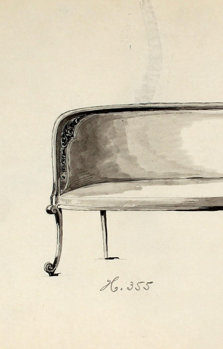 Early 20th Century Chair Design in Ink and Graphite  - Art by Unknown