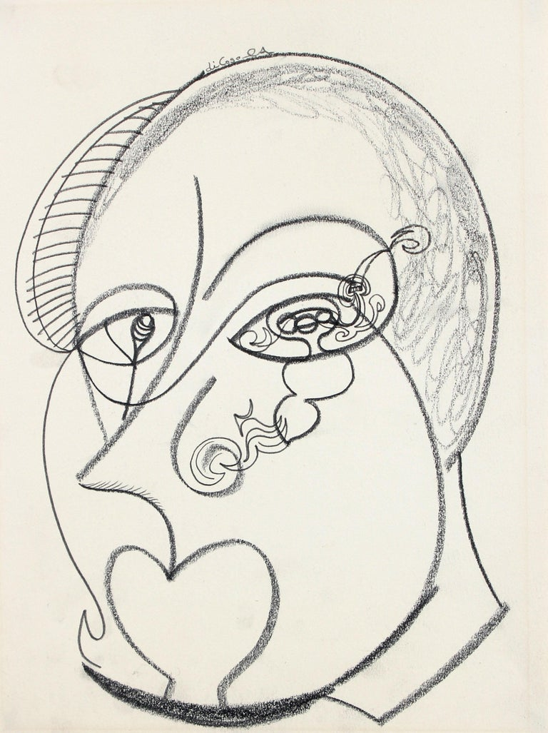 Michael di Cosola Abstract Drawing - Late 20th Century Psychedelic Portrait Drawing