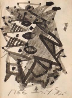 Mid 20th Century Gestural Abstract in Black Ink