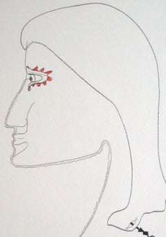 Late 20th Century Surrealist Portrait Drawing