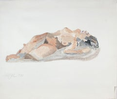 "1980's ""Reclining Woman"" Figurative Ink Wash"