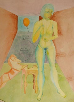1960s Surrealist Scene in Watercolor on Paper