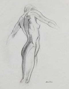 Late 20th Century Figure Drawing in Graphite on Paper
