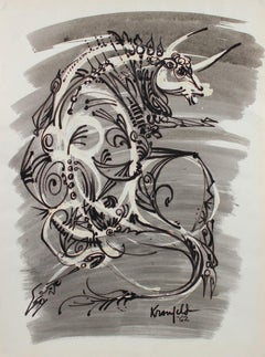 Circa 1960's Modernist Bull Illustration in Ink