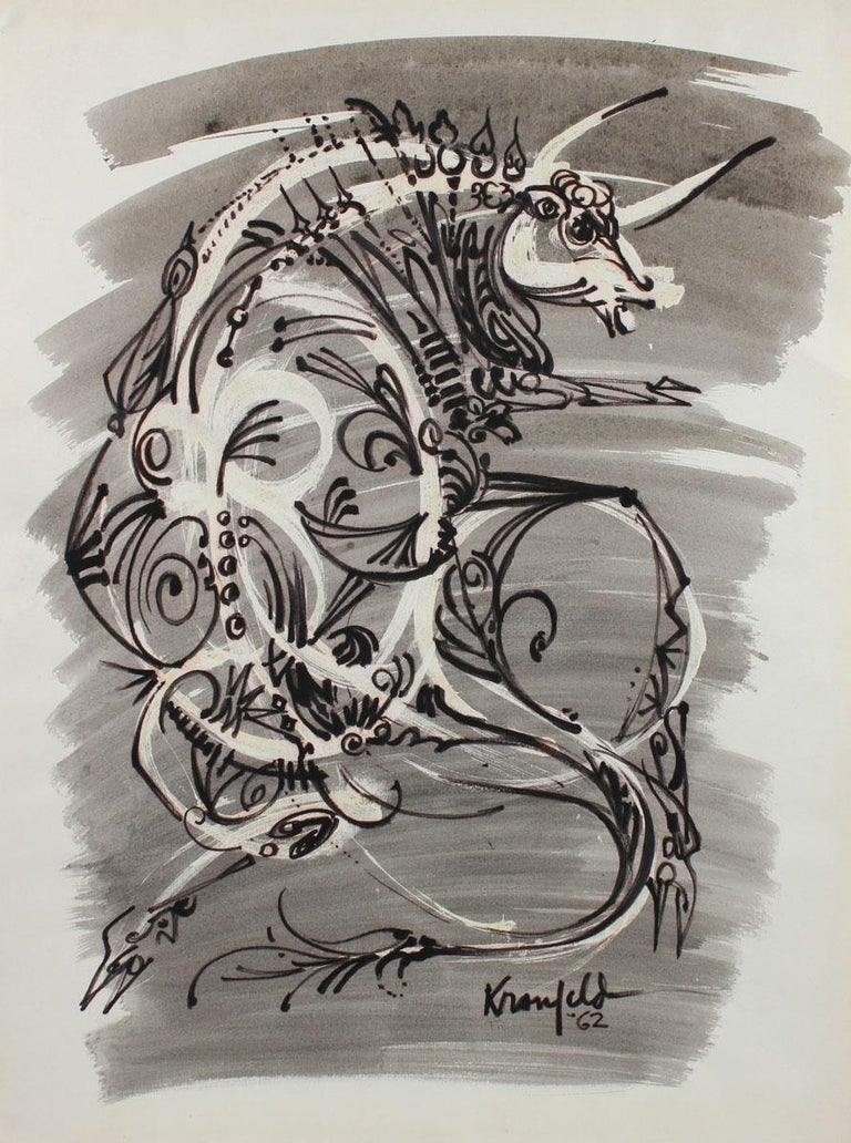 Morris Kronfeld Animal Art - Circa 1960's Modernist Bull Illustration in Ink