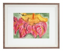 """Authunium & Hibiscus"", Hawaii Still Life, Ink, Watercolor and Gouache on Paper"