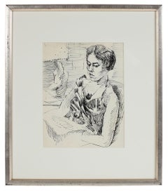 Modernist Portrait of a Woman on a Train in Ink