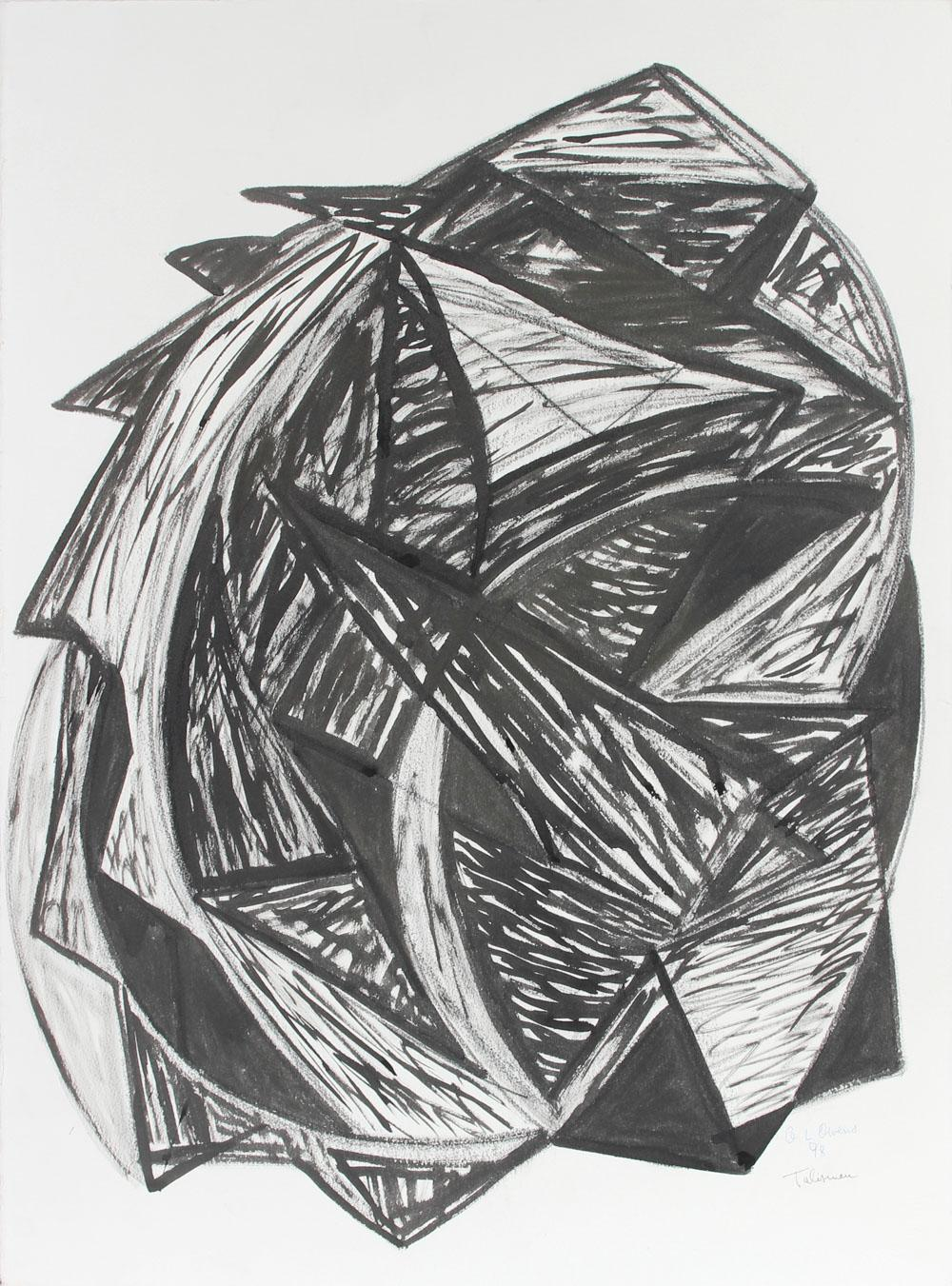 """""""Talisman"""", 1998, Expressionist Abstract in Ink and Charcoal"""