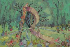 Landscape with Children Playing on a Slide in Gouache, Mid 20th Century