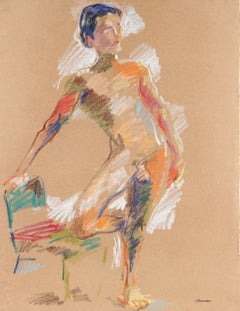 Colorful Abstract Figure Drawing in Pastel on Paper, September 23, 1983