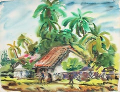 Watercolor Landscape of a Spanish Style Home With Palm Trees, Mid 20th Century